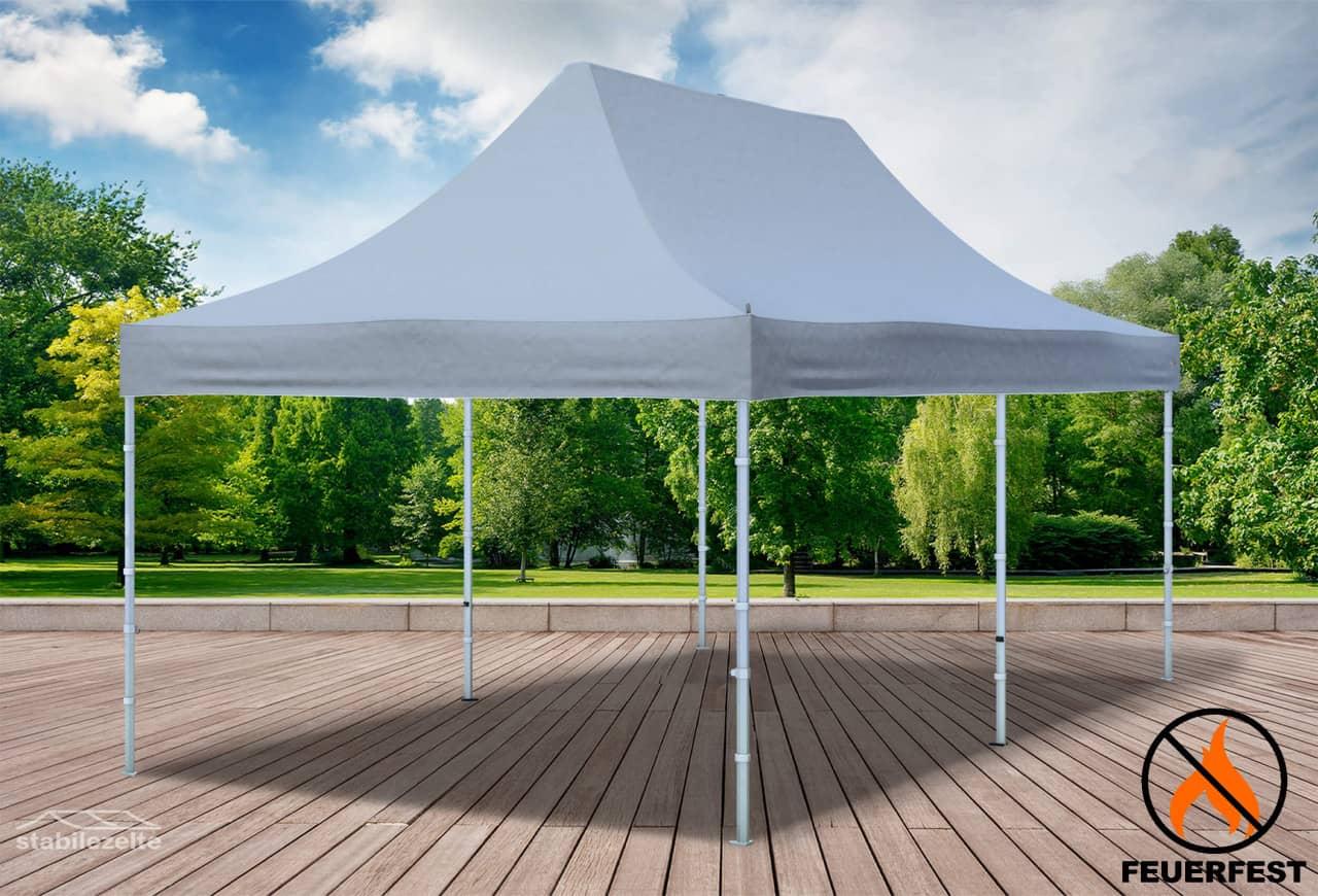 stabilezelte 3x6 m Faltpavillon Prof.+ ALU FR PVC 550 g/m² - 100 % wasserdicht - Grau
