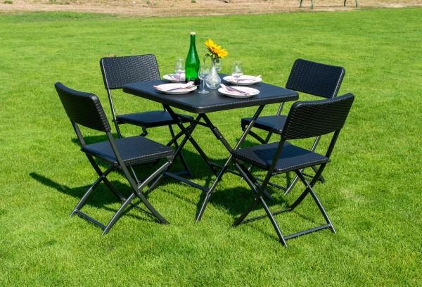 Klapptisch 78x78 cm mit 4 Stühlen