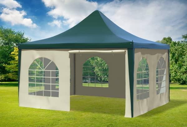 4x4 m Pavillon, PVC Arabica grün beige
