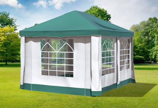 3x4 m Pavillon, Polyester PVC Deluxe grün