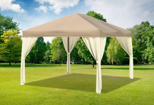 3x4 m Pavillon, Polyester PVC Sahara braun