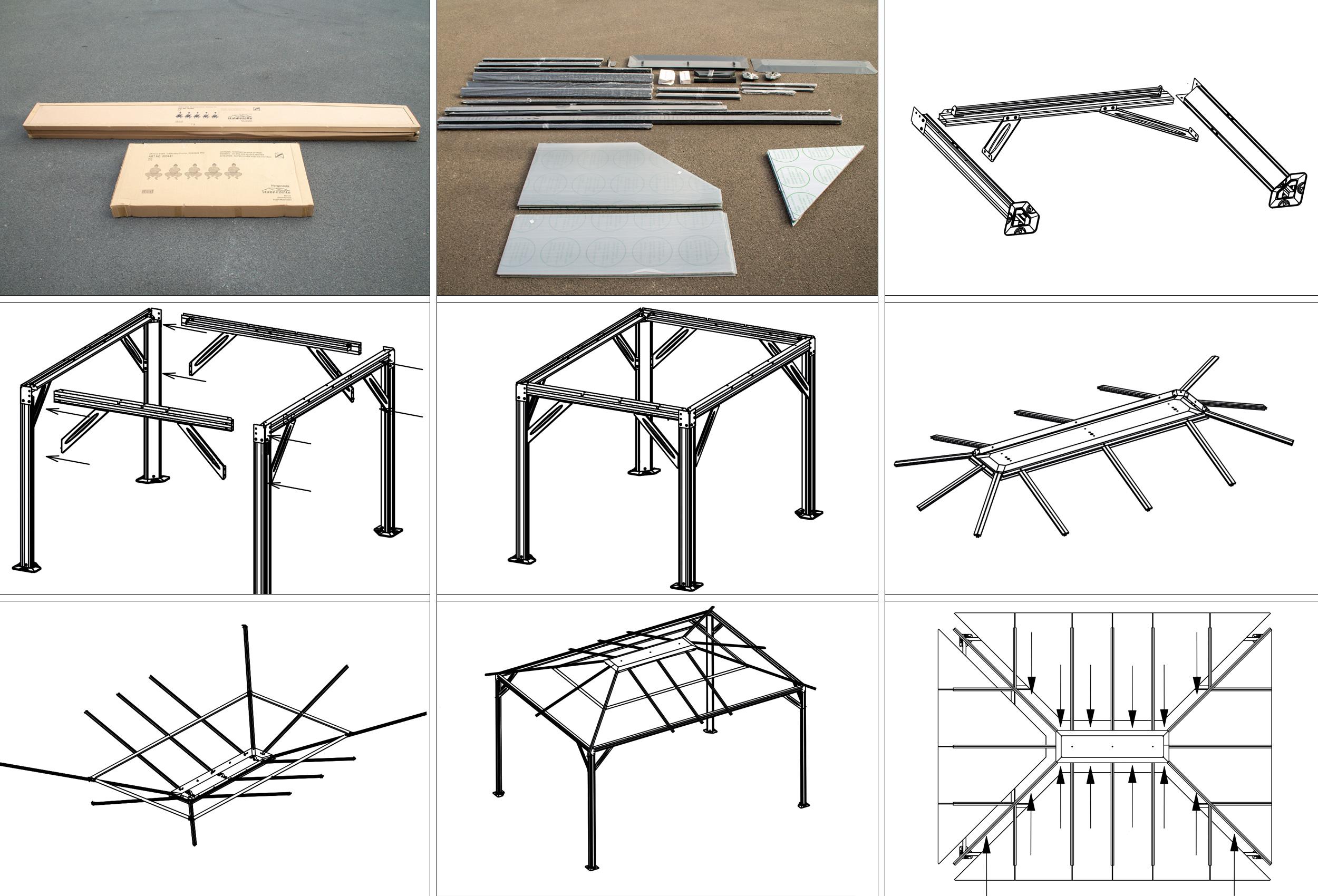hardtop pavillon 3x4 romance pergola aluminium polycarbonat konstruktion. Black Bedroom Furniture Sets. Home Design Ideas