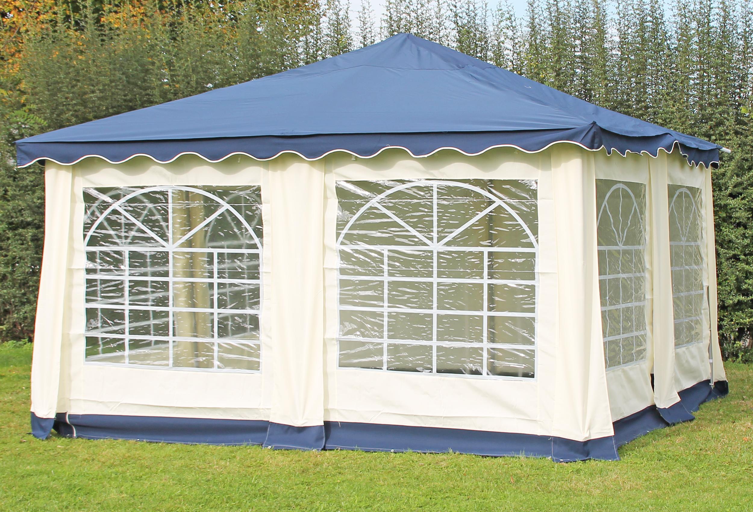 partyzelt pavillon 4x4m polyester deluxe blau 4x4 meter pavillion. Black Bedroom Furniture Sets. Home Design Ideas
