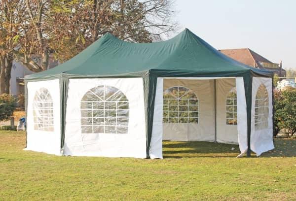 5x6,8 m Pavillon, PVC Arabica grün weiß
