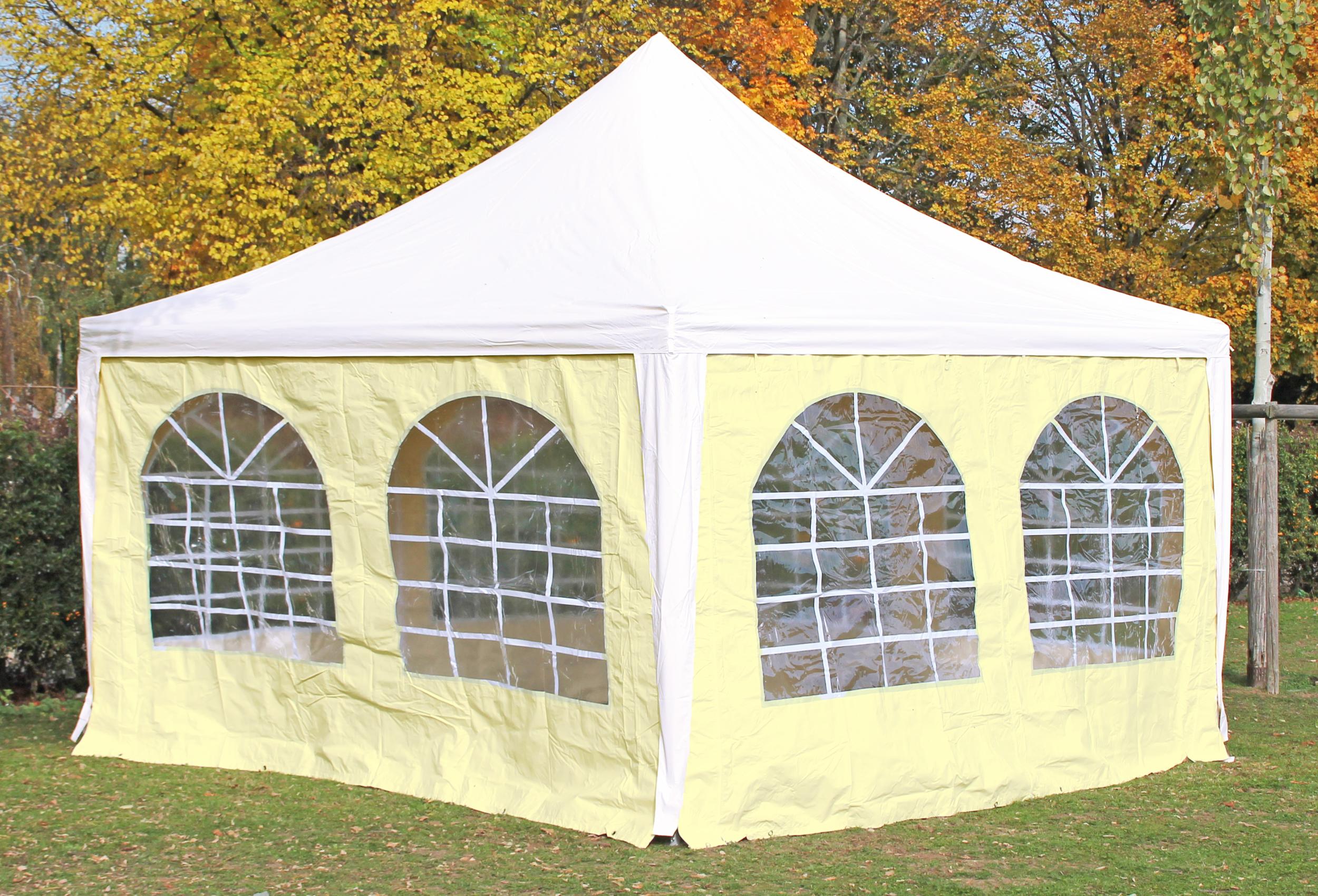 pavillon 4x4 meter arabica pvc wei beige inkl seitenteile kostenfreie lieferung 4x4. Black Bedroom Furniture Sets. Home Design Ideas