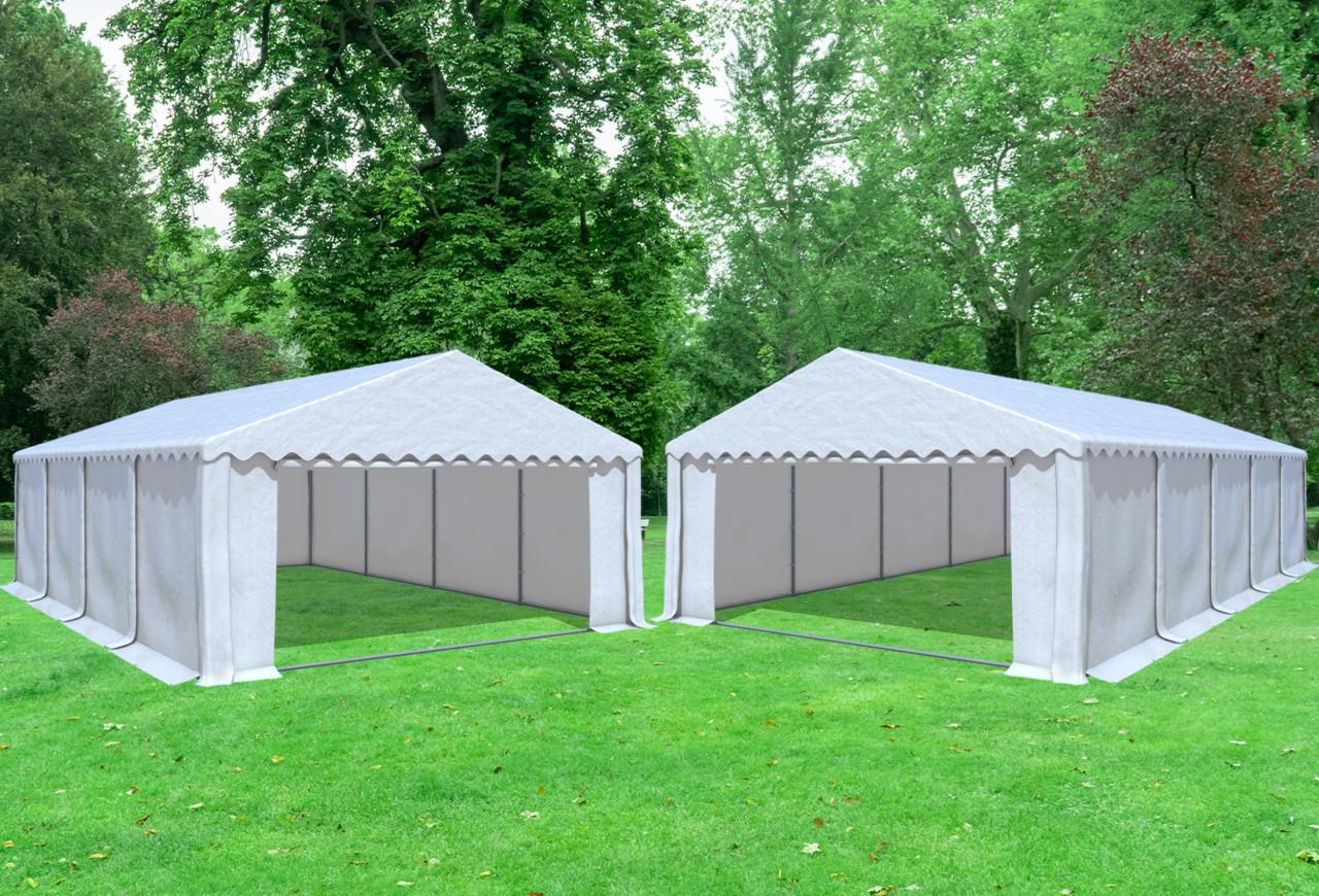 stabilezelte Kombi 2in1 5x8 zu 5x10 m Partyzelt Lagerzelt Giant Prof PVC 550 g/m² - wasserdicht - Weiß inkl. Seitenwänden
