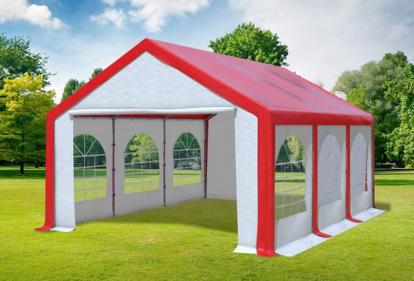4x6 m Partyzelt, PVC rot weiß