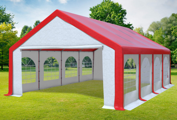 5x8 m Partyzelt, PVC rot weiß