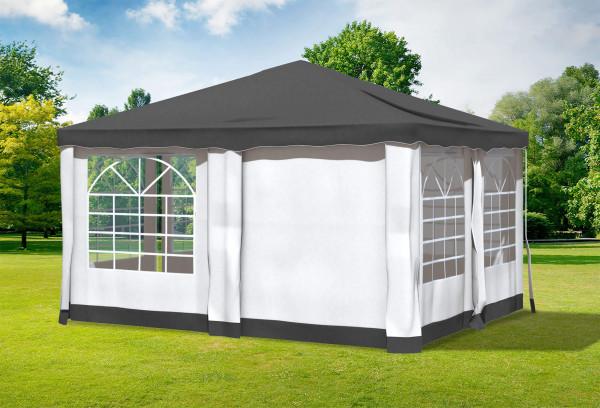 4x4 m Pavillon, Polyester PVC Deluxe anthrazit