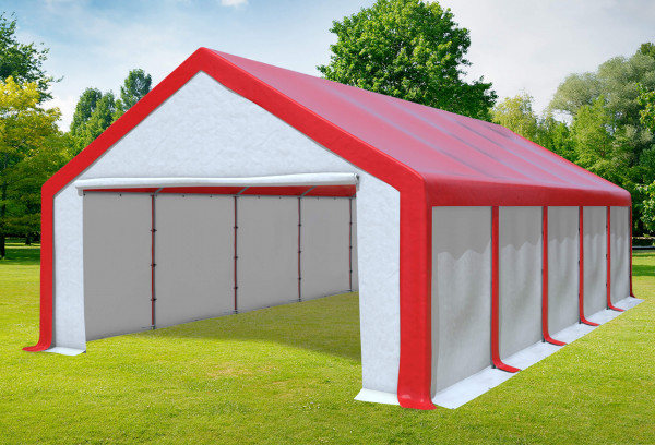 5x10 m Partyzelt, PVC rot weiß