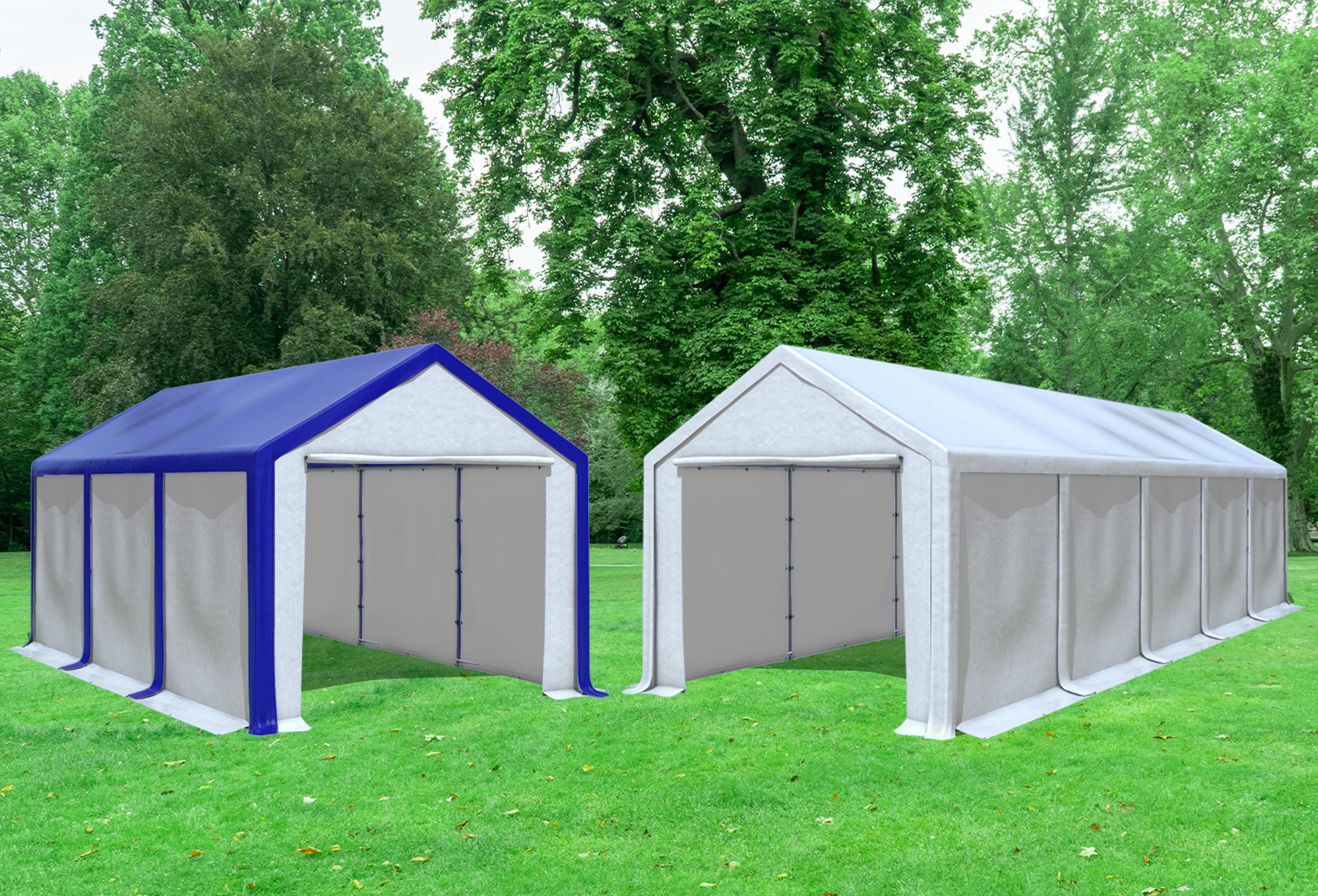 kombizelt 2in1 3x6 zu 3x10m partyzelt pvc modular pro pvc wei blau profi zelt. Black Bedroom Furniture Sets. Home Design Ideas