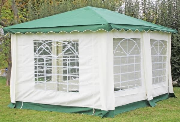 Stabilezelte Pavillon 3x4m grün Polyester / PVC Gartenpavillon DeLuxe wasserdicht 523432