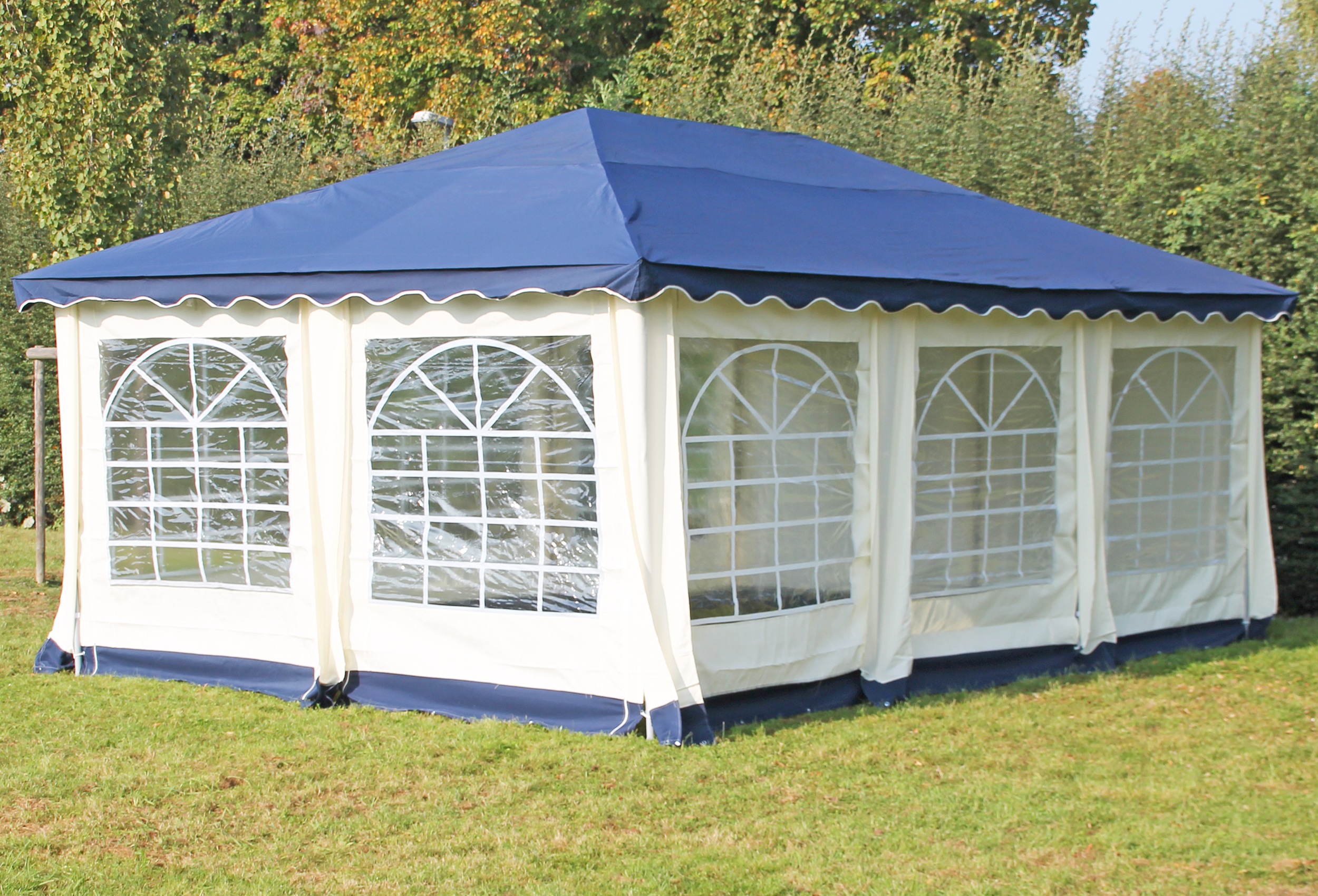 partyzelt pavillon 4x6m polyester deluxe blau 6x4 meter pavillion. Black Bedroom Furniture Sets. Home Design Ideas