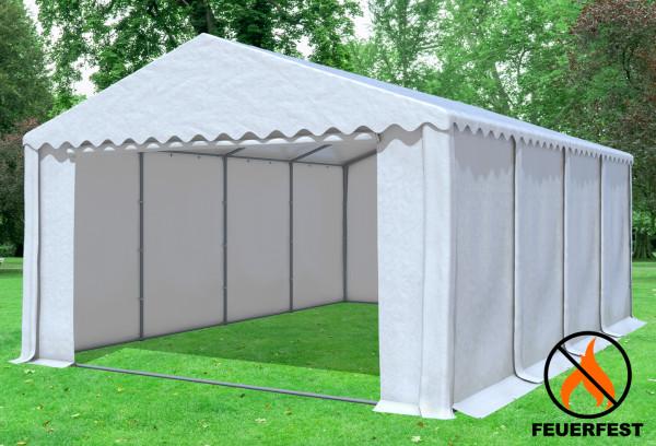5x8 m Partyzelt, 2,6m Seitenhöhe PVC feuersicher weiß