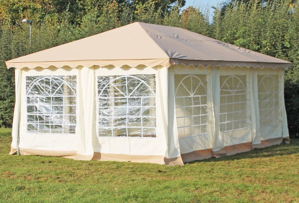 Stabilezelte Pavillon 4x6m braun Polyester / PVC Gartenpavillon DeLuxe wasserdicht 524639
