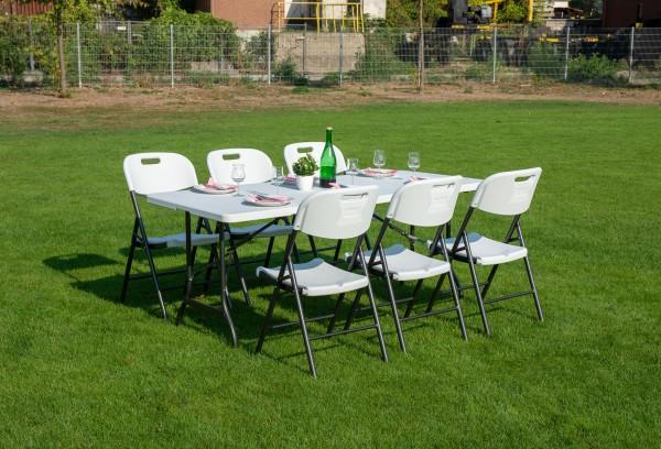 Tischgarnitur mit 6 Stühlen, klappbar