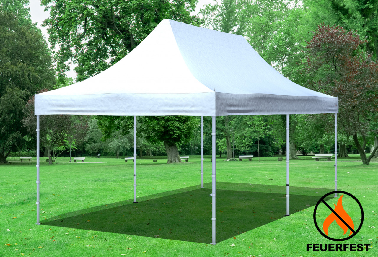 stabilezelte 3x6 m Faltpavillon Prof.+ ALU FR PVC 550 g/m² - 100 % wasserdicht - Weiß