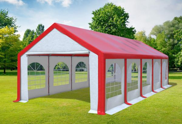 4x10 m Partyzelt, PVC rot weiß