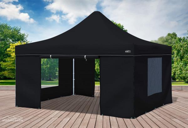 4x4 m Faltpavillon, schwarz