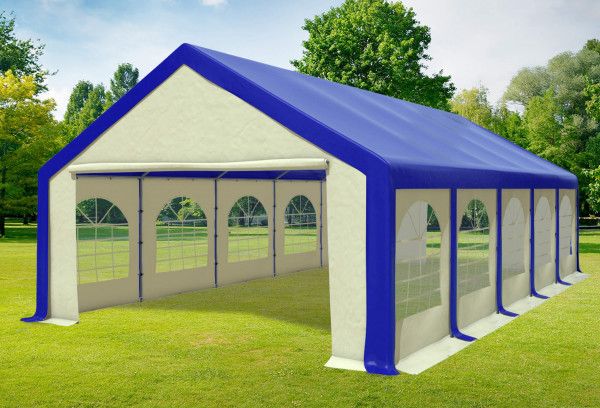 5x10 m Partyzelt, PVC blau beige