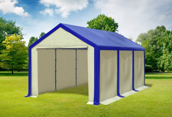3x6 m Partyzelt, PVC blau beige