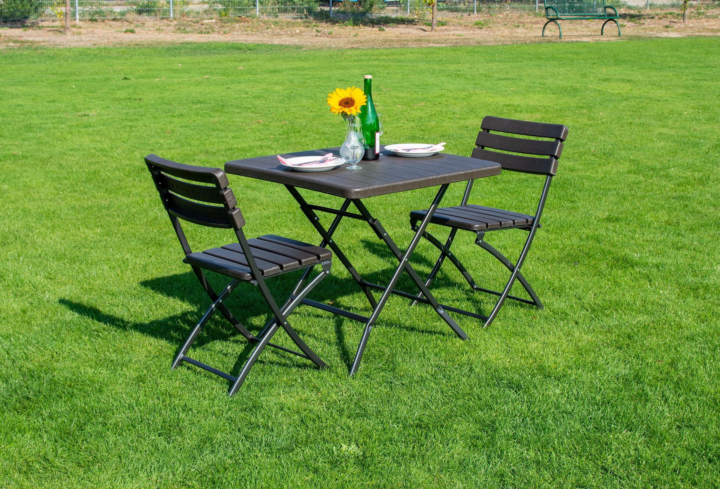 klapptisch bavariapro 78x78 cm mit 2 st hlen braun. Black Bedroom Furniture Sets. Home Design Ideas