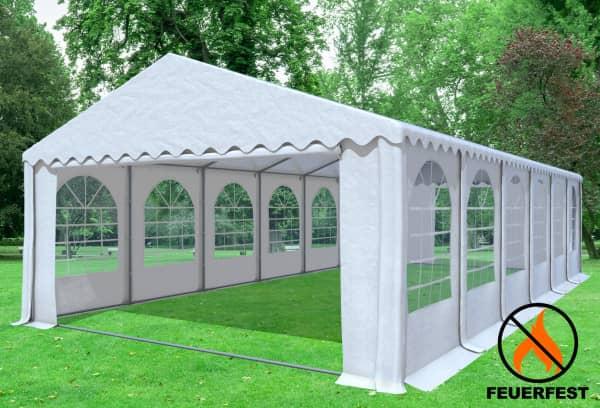 6x12 m Partyzelt, 2,6m Seitenhöhe PVC feuersicher weiß
