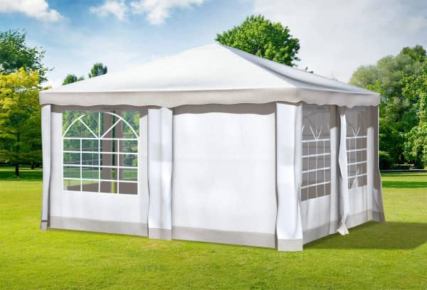 4x4 m Pavillon, Polyester PVC Deluxe braun
