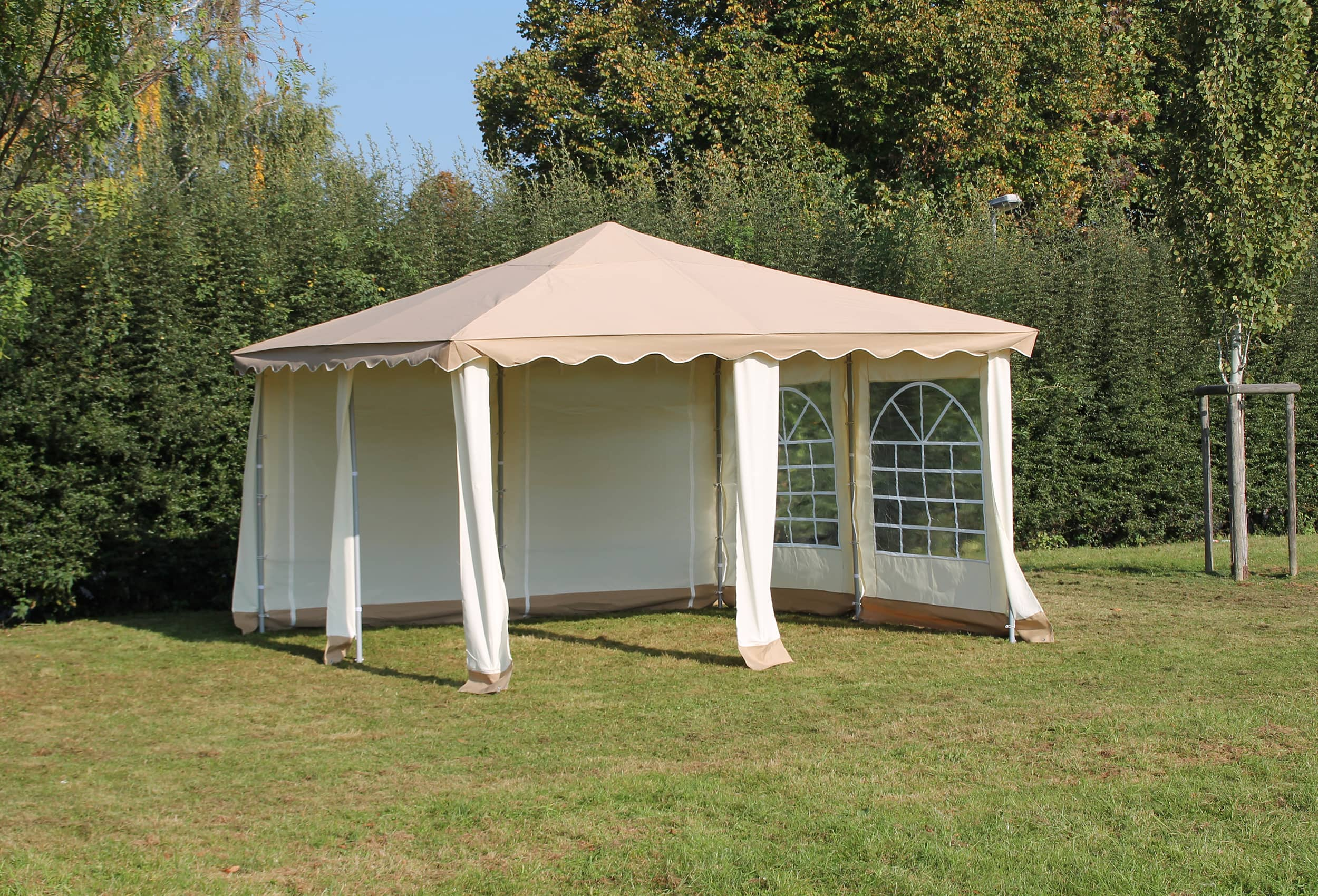 partyzelt pavillon 4x4m polyester deluxe blau 4x4 meter pavillion. Black Bedroom Furniture Sets. Home Design Ideas