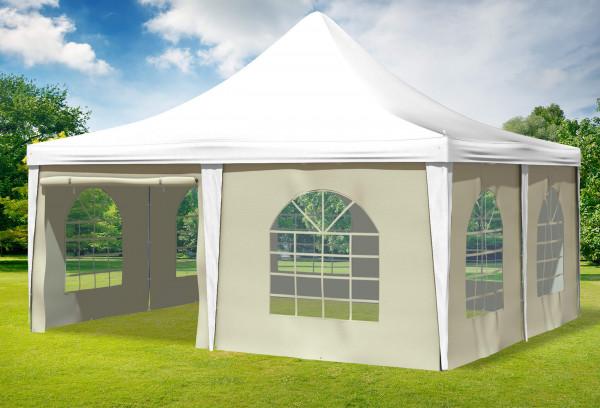5x5 m Pavillon, PVC Arabica weiß beige