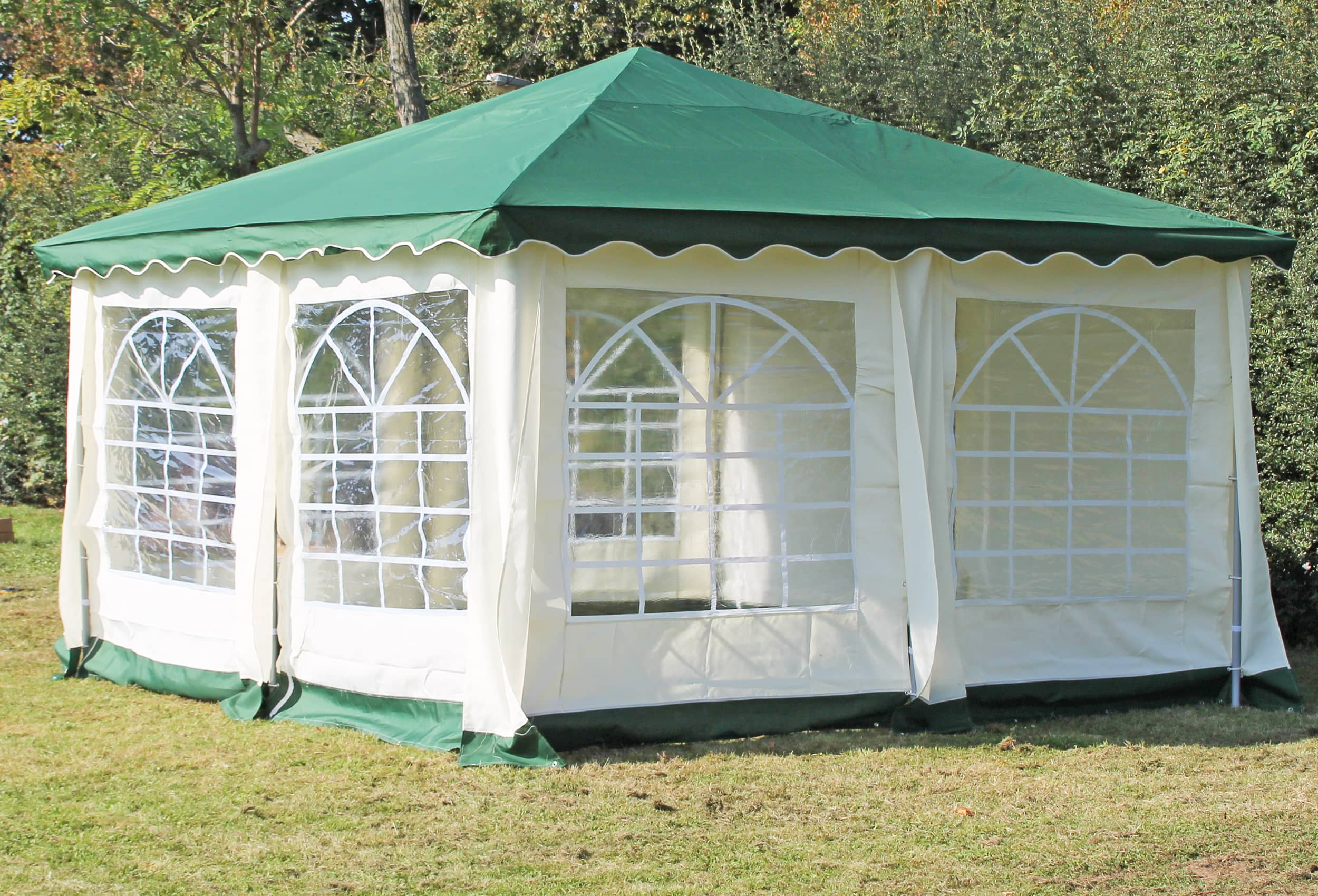 partyzelt pavillon 4x4m polyester deluxe gr n 4x4 meter pavillion. Black Bedroom Furniture Sets. Home Design Ideas
