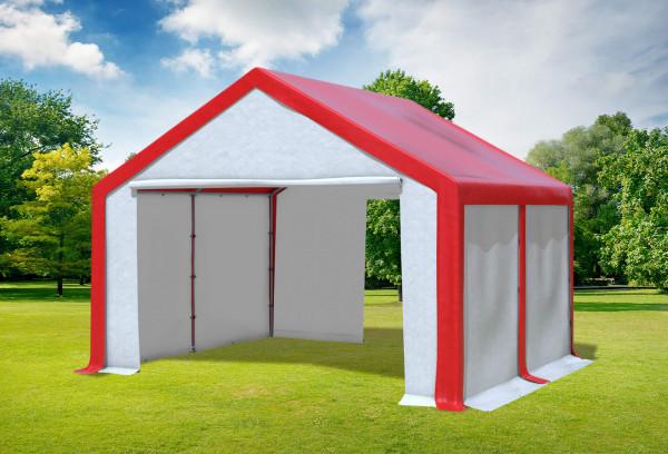 4x4 m Partyzelt, PVC rot weiß