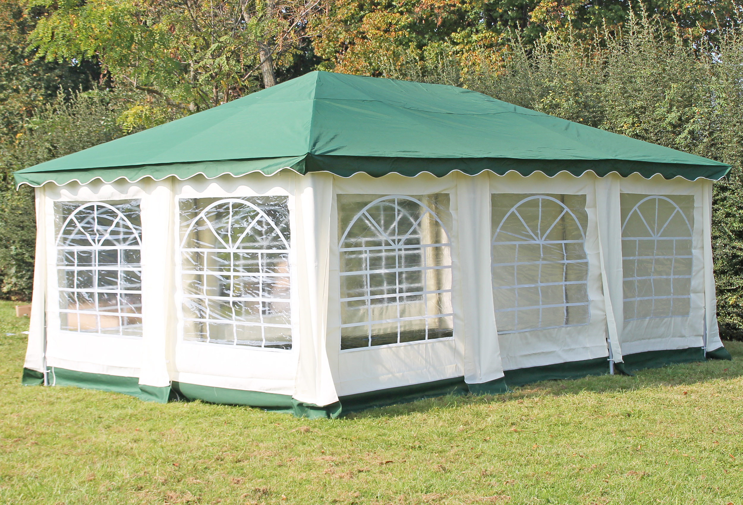partyzelt pavillon 4x6m polyester deluxe gr n 6x4 meter pavillion. Black Bedroom Furniture Sets. Home Design Ideas