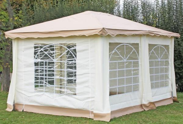 Stabilezelte Pavillon 3x4m braun Polyester / PVC Gartenpavillon DeLuxe wasserdicht 523439