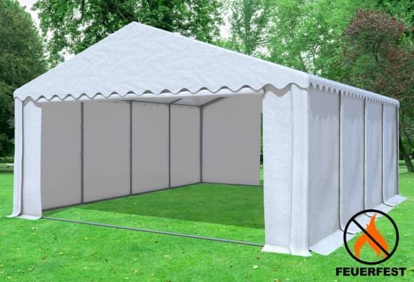 6x8 m Partyzelt, 2,6m Seitenhöhe PVC feuersicher weiß