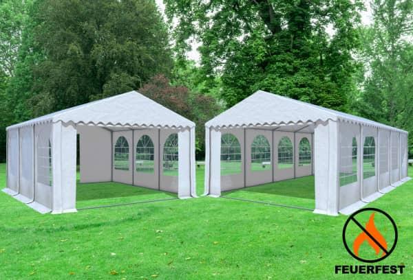 5x10 m 2in1 Kombizelt mit extra 5x6 m Dach, 2,6m Seitenhöhe PVC feuersicher weiß