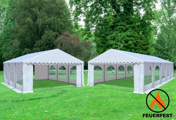 5x10 m 2in1 Kombizelt mit extra 5x6 m Dach, PVC feuersicher weiß