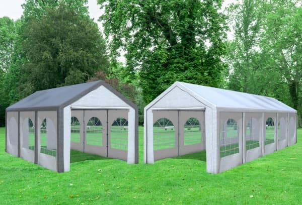 3x10 m 2in1 Kombizelt mit extra 3x6 m Dach, PE weiß grau