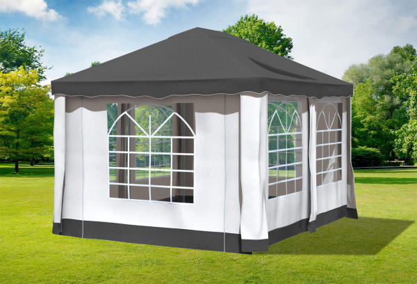 3x4 m Pavillon, Polyester PVC Deluxe anthrazit