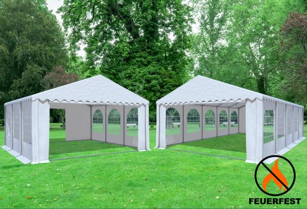 6x10 m 2in1 Kombizelt mit extra 6x6 m Dach, 2,6m Seitenhöhe PVC feuersicher weiß