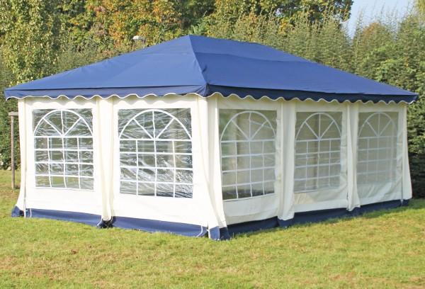 Stabilezelte Pavillon 4x6m blau Polyester / PVC Gartenpavillon DeLuxe wasserdicht 524633