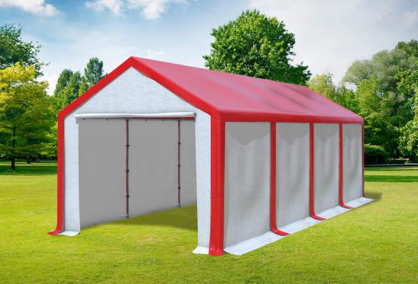 3x8 m Partyzelt, PVC rot weiß