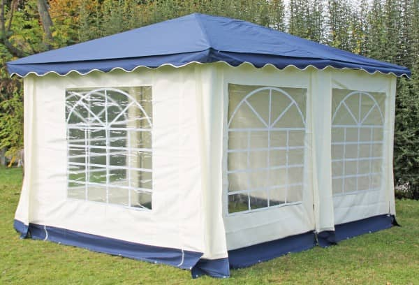 Stabilezelte Pavillon 3x4m blau Polyester / PVC Gartenpavillon DeLuxe wasserdicht 523433