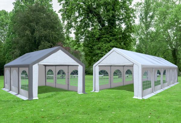 4x10 m 2in1 Kombizelt mit extra 4x6 m Dach, PVC weiß grau