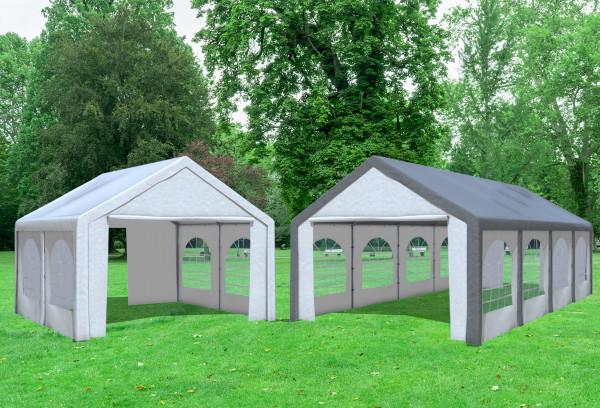 4x8 m 2in1 Kombizelt mit extra 4x4 m Dach, PE grau weiß