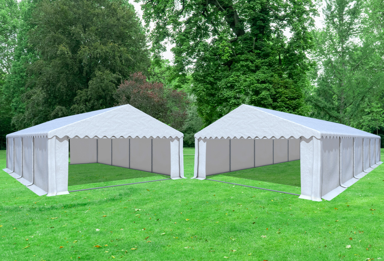 stabilezelte Kombi 2in1 6x8 zu 6x12 m Partyzelt Lagerzelt Giant Prof PVC 550 g/m² - wasserdicht - Weiß inkl. Seitenwänden