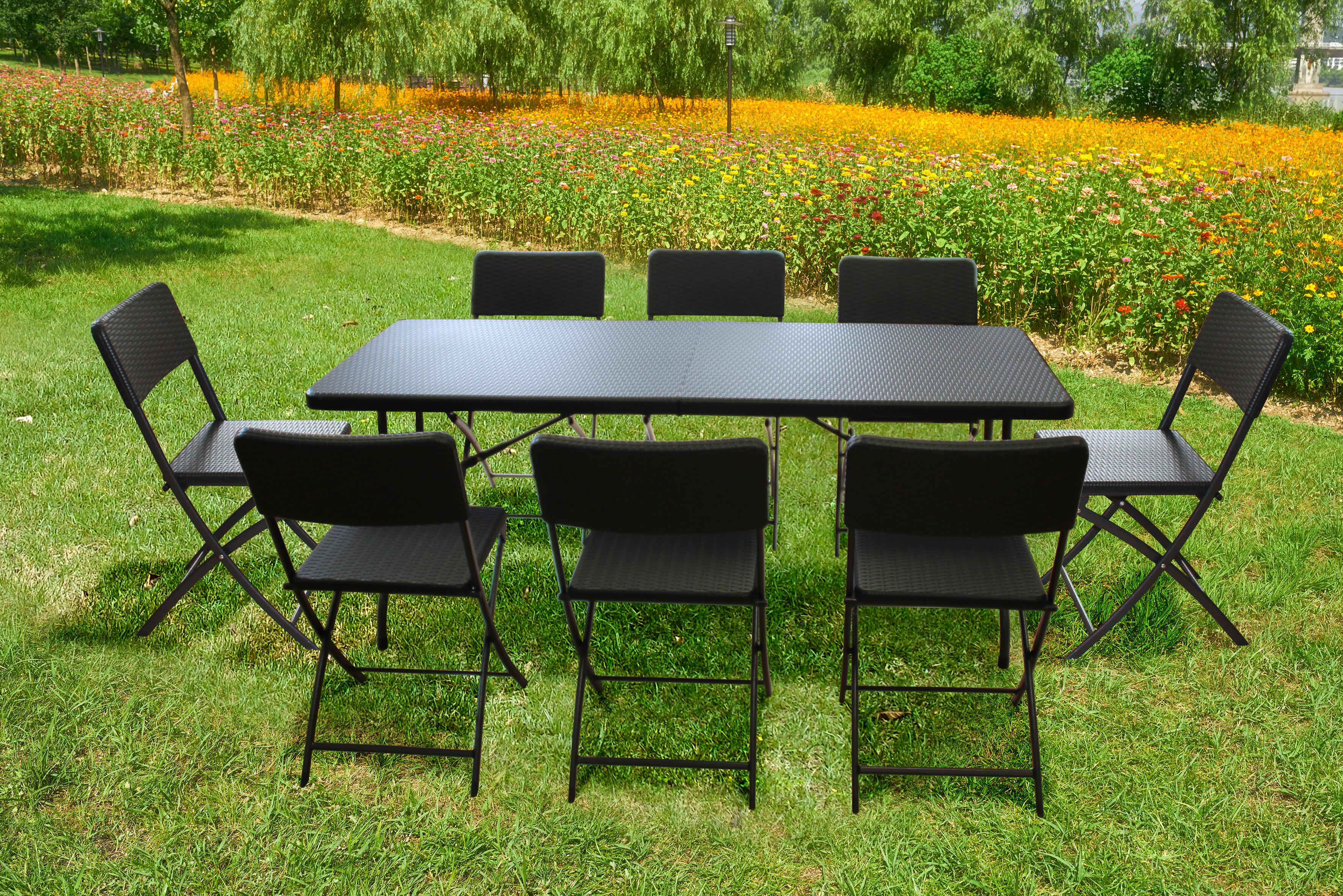 tischgarnitur mit 8 st hlen elegancepro 180x75 cm schwarz. Black Bedroom Furniture Sets. Home Design Ideas