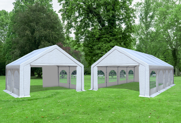 5x8 m 2in1 Kombizelt mit extra 5x4 m Dach, PVC weiß