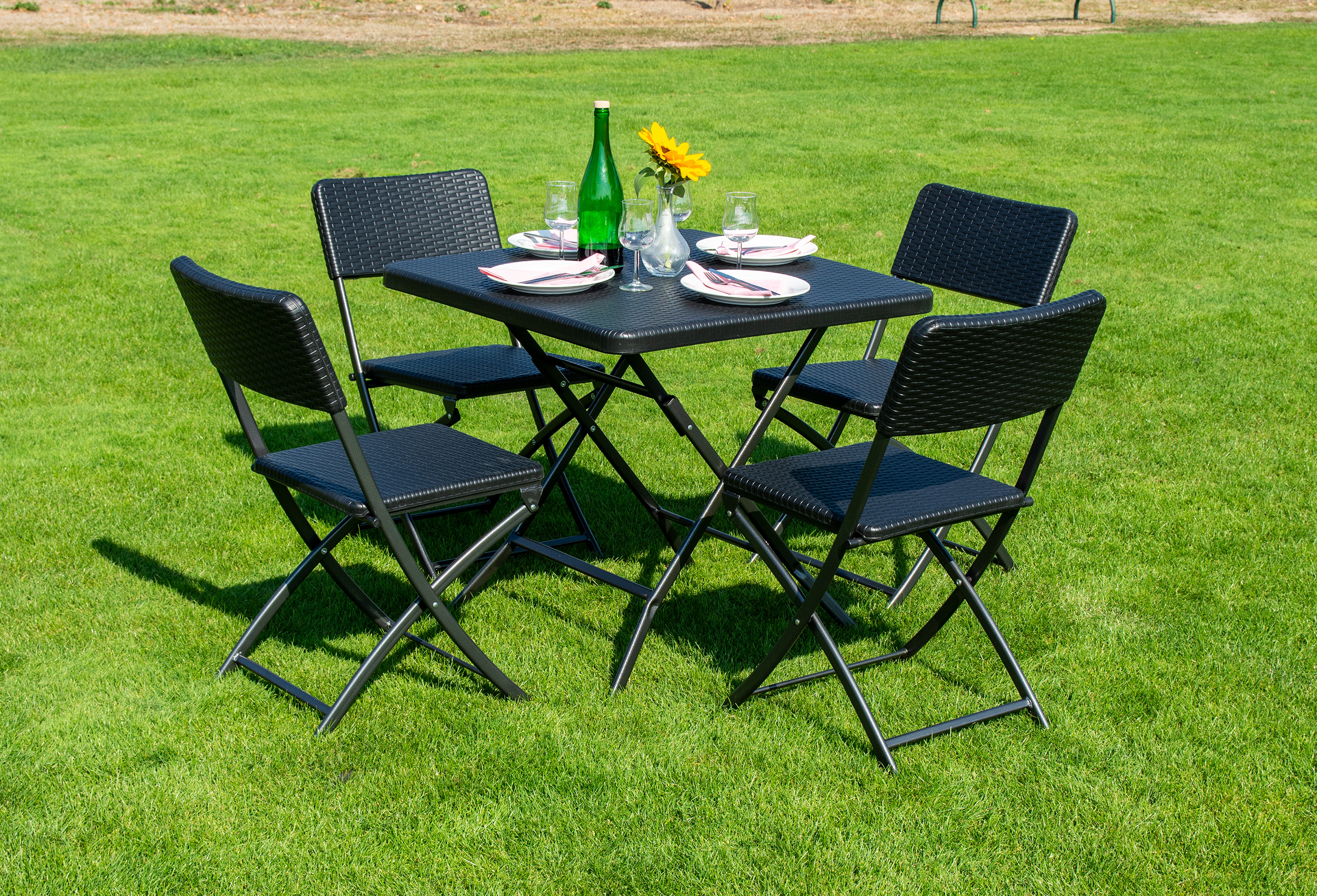 klapptisch elegancepro 78x78 cm mit 4 st hlen schwarz. Black Bedroom Furniture Sets. Home Design Ideas