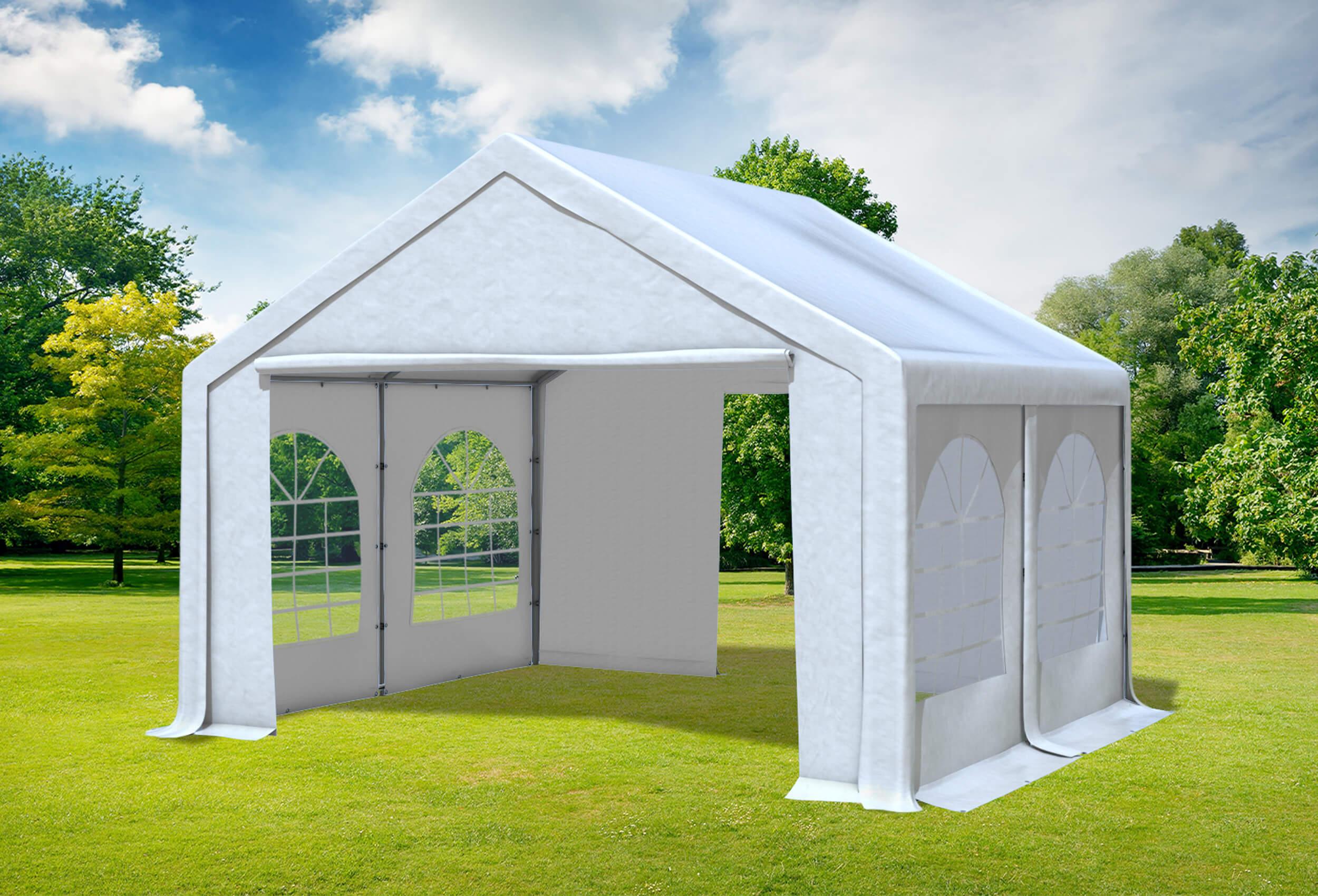 4x4 m Partyzelt Modular Professional PVC 500 gm² Weiß inkl